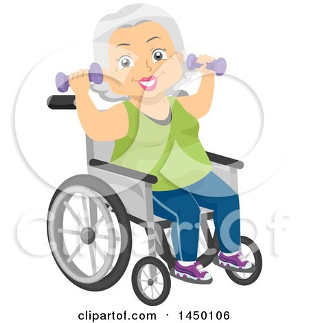 Clipart Graphic of a Happy White Haired Senior White Woman Sitting in a Wheelchair and Working out with Dumbbells - Royalty Free Vector Illustration by BNP Design Studio