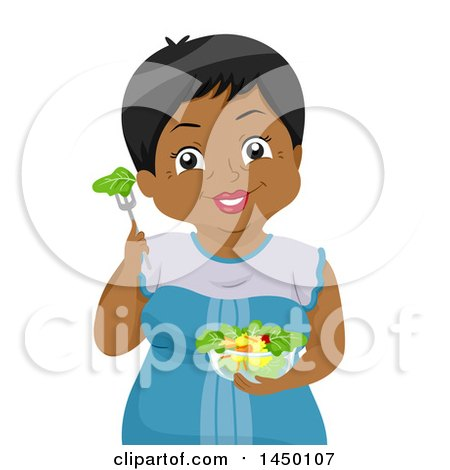 Clipart Graphic of a Happy Black Senior Woman with a Salad - Royalty Free Vector Illustration by BNP Design Studio