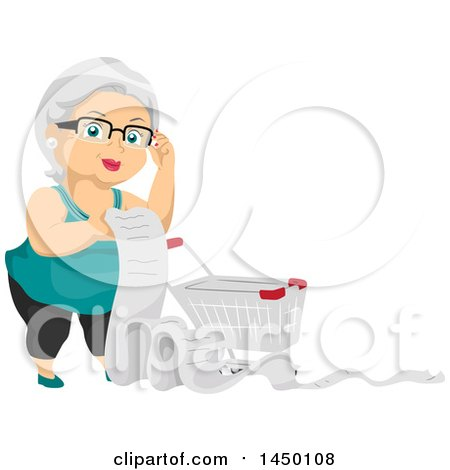 Clipart Graphic Of A Happy White Haired Senior White Woman With A Shopping Cart And Long List Royalty Free Vector Illustration