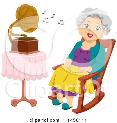 Clipart Graphic of a Happy White Haired Senior White Woman Sitting in a Rocking Chair and Listenting to a Gramophone - Royalty Free Vector Illustration by BNP Design Studio