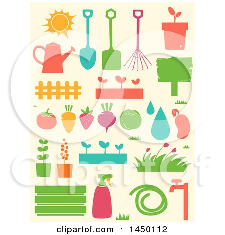 Clipart Graphic of Stencil Styled Gardening Icons - Royalty Free Vector Illustration by BNP Design Studio