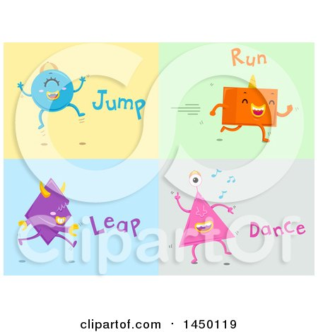 Clipart Graphic of Shape Monsters Demonstrating Jump, Run, Leap and Dance Action Words - Royalty Free Vector Illustration by BNP Design Studio
