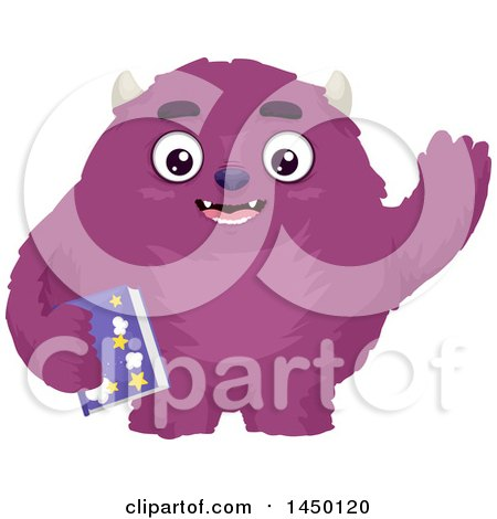 Clipart Graphic of a Furry Purple Monster Waving and Holding a Bedtime Story Book - Royalty Free Vector Illustration by BNP Design Studio