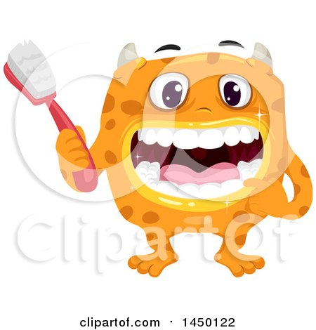 Clipart Graphic of a Spotted Monster Holding a Toothbrush and Showing His Clean Teeth - Royalty Free Vector Illustration by BNP Design Studio