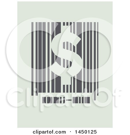 Clipart Graphic of a Barcode with a Usd Dollar Sign on Pastel Green - Royalty Free Vector Illustration by BNP Design Studio
