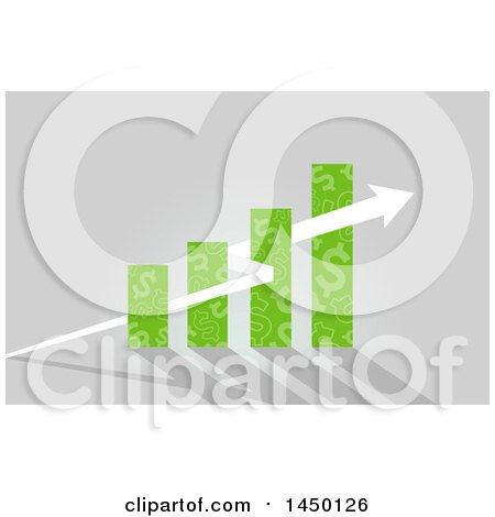 Clipart Graphic of a Green Dollar Sign Patterned Bar Graph with a Growth Arrow on Gray - Royalty Free Vector Illustration by BNP Design Studio