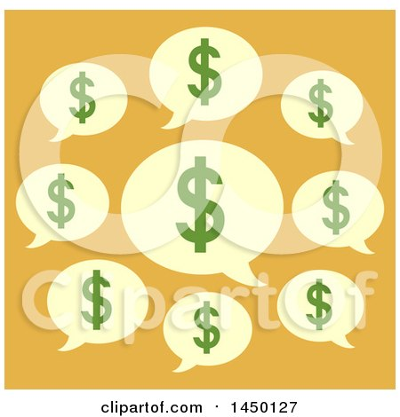Clipart Graphic of a Group of Dollar Sign Speech Balloons, on Yellow - Royalty Free Vector Illustration by BNP Design Studio