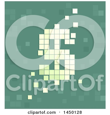 Clipart Graphic of a Pixel Dollar Sign Currency Symbol on Green - Royalty Free Vector Illustration by BNP Design Studio