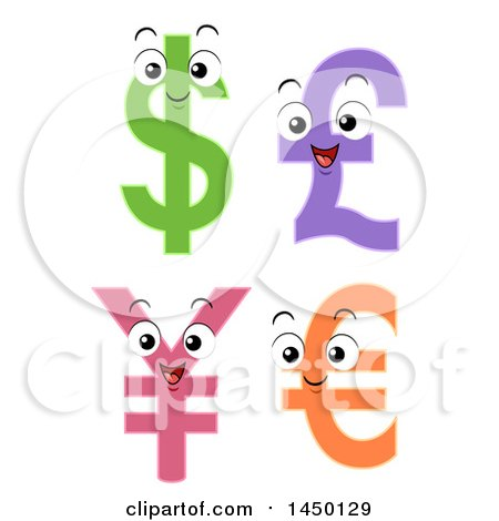 Clipart Graphic of Pound, Dollar, Yen, and Euro Currency Sybmols Mascots - Royalty Free Vector Illustration by BNP Design Studio