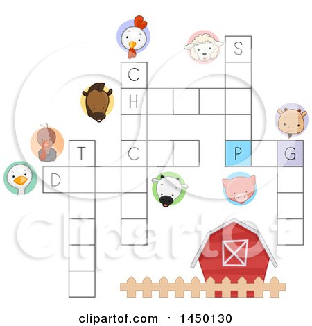 Clipart Graphic of a Farm Animal Crossword Puzzle - Royalty Free Vector Illustration by BNP Design Studio