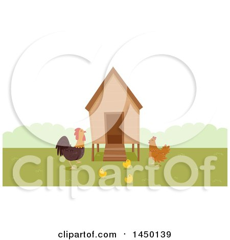 Clipart Graphic of a Chicken Coop with a Rooster, Hen and Chicks - Royalty Free Vector Illustration by BNP Design Studio