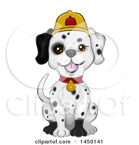 Clipart Graphic of a Cute Dalmation Fire House Dog Sitting - Royalty Free Vector Illustration by BNP Design Studio