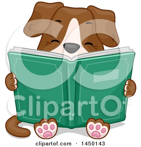 Clipart Graphic of a Cute Dog Sitting and Reading a Book - Royalty Free Vector Illustration by BNP Design Studio