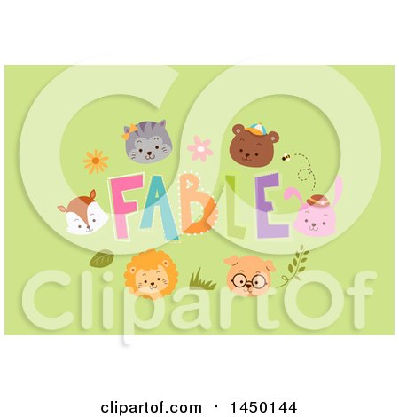 Clipart Graphic of a Frame of Animal Faces Around Fables Text on Green - Royalty Free Vector Illustration by BNP Design Studio