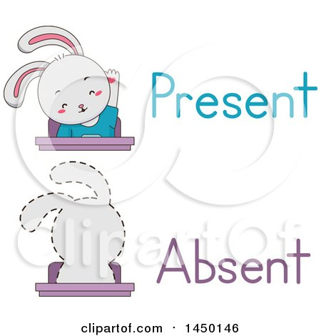 Clipart Graphic of a Rabbit Student Shown Present and Absent in Class - Royalty Free Vector Illustration by BNP Design Studio