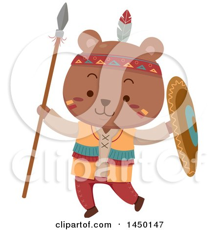 Clipart Graphic of a Cute Native American Indian Bear Holding a Spear and Shield - Royalty Free Vector Illustration by BNP Design Studio