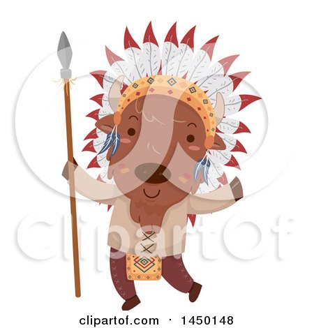 Clipart Graphic of a Cute Native American Indian Bison Holding a Spear - Royalty Free Vector Illustration by BNP Design Studio