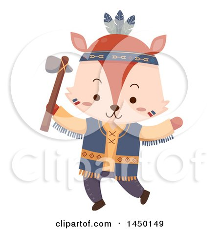 Clipart Graphic of a Cute Native American Indian Fox Holding an Axe - Royalty Free Vector Illustration by BNP Design Studio