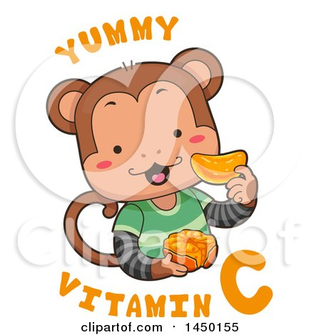 Clipart Graphic of a Cute Monkey Eating an Orange with Yummy Vitamin C Text - Royalty Free Vector Illustration by BNP Design Studio