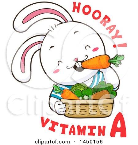Clipart Graphic of a Cute Rabbit Eating Produce with Hooray Vitamin a Text - Royalty Free Vector Illustration by BNP Design Studio