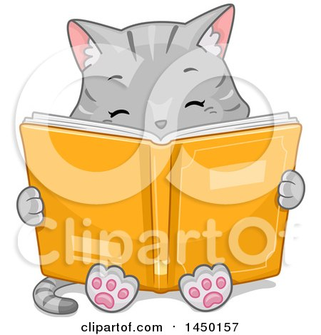 Clipart Graphic of a Cute Gray Tabby Cat Reading a Book - Royalty Free Vector Illustration by BNP Design Studio