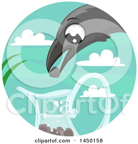 Clipart Graphic of a Fable Scene of the Crow and the Pitcher - Royalty Free Vector Illustration by BNP Design Studio