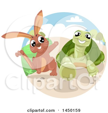 Clipart Graphic of a Fable Scene of the Tortoise and the Hare - Royalty Free Vector Illustration by BNP Design Studio
