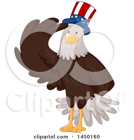 Clipart Graphic of a Saluting Bald Eagle Wearing a Patriotic American Hat - Royalty Free Vector Illustration by BNP Design Studio