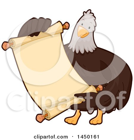 Clipart Graphic of a Bald Eagle Holding a Blank Scroll - Royalty Free Vector Illustration by BNP Design Studio