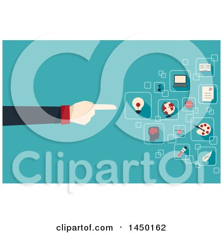 Clipart Graphic of a Man's Hand Pointing to Academic Field Icons over Blue - Royalty Free Vector Illustration by BNP Design Studio