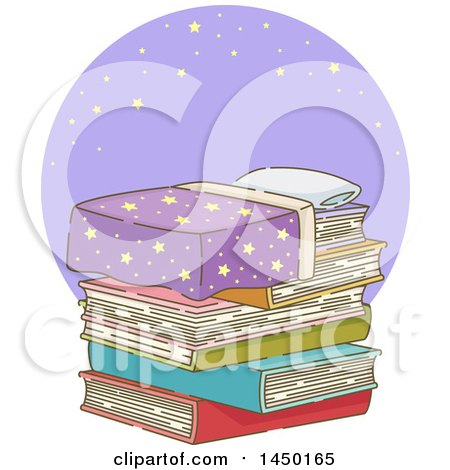 Clipart Graphic of a Bed of Stacked Books Against a Purple Circle with Stars - Royalty Free Vector Illustration by BNP Design Studio