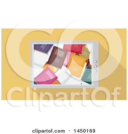 Clipart Graphic of a Smart Phone with a Book Wallpaper, over Yellow - Royalty Free Vector Illustration by BNP Design Studio