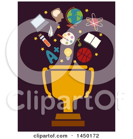 Clipart Graphic of a Golden Trophy Cup with Educational Icons, on Dark Brown - Royalty Free Vector Illustration by BNP Design Studio
