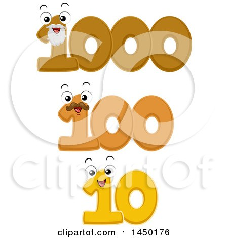 Clipart Graphic of Number Mascots for a Decade, Century, and Millennium - Royalty Free Vector Illustration by BNP Design Studio