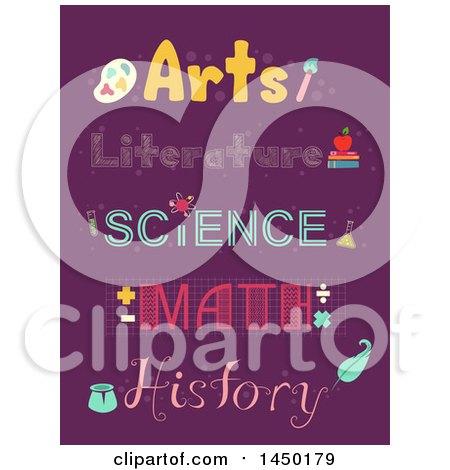 School Subject Topography Designs on Purple Posters, Art Prints