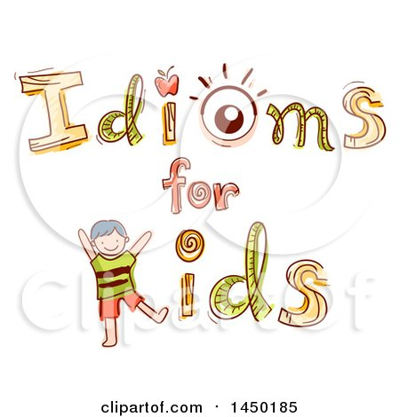 Clipart Graphic of a Sketched Idioms for Kids Design with an Apple, an Eye, and a Kid - Royalty Free Vector Illustration by BNP Design Studio