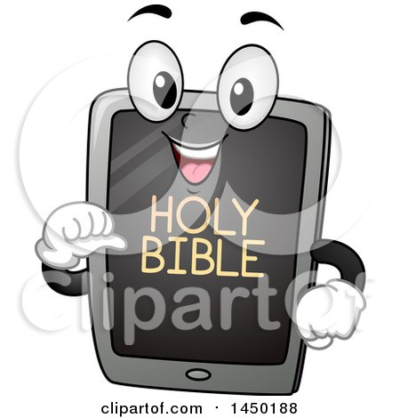 Clipart Graphic of a Happy Tablet Mascot with Holy Bible Text on the Screen - Royalty Free Vector Illustration by BNP Design Studio