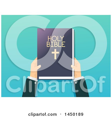 Clipart Graphic of a Priest's Hands Holding a Bible over Gradient Blue - Royalty Free Vector Illustration by BNP Design Studio