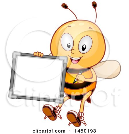 Clipart Graphic of a Happy Bee Mascot Holding a White Board - Royalty Free Vector Illustration by BNP Design Studio