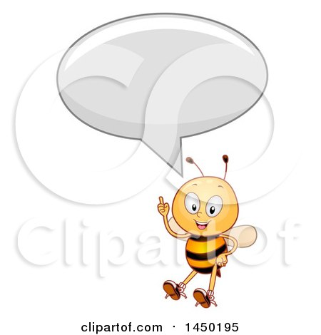 Clipart Graphic of a Happy Bee Mascot Holding up a Finger and Talking - Royalty Free Vector Illustration by BNP Design Studio