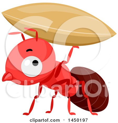 Clipart Graphic of a Cute Red Ant Holding up a Grain - Royalty Free Vector Illustration by BNP Design Studio