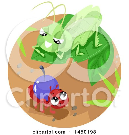 Clipart Graphic of a Grasshopper on a Leaf over a Worker Ant - Royalty Free Vector Illustration by BNP Design Studio