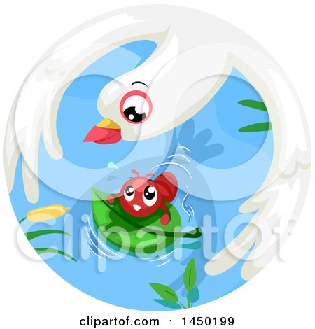 Clipart Graphic of a Fable Scene of the Dove and the Ant - Royalty Free Vector Illustration by BNP Design Studio
