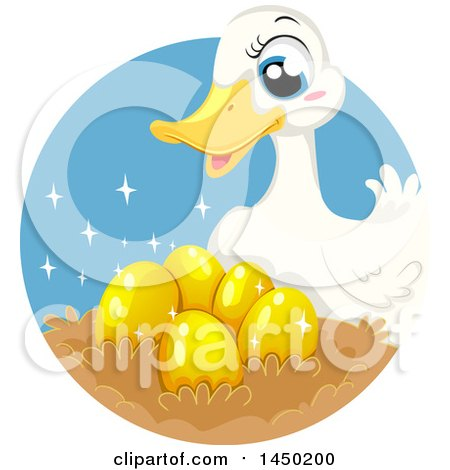 Clipart Graphic of a Fable Scene of the Duck Who Laid Golden Eggs - Royalty Free Vector Illustration by BNP Design Studio