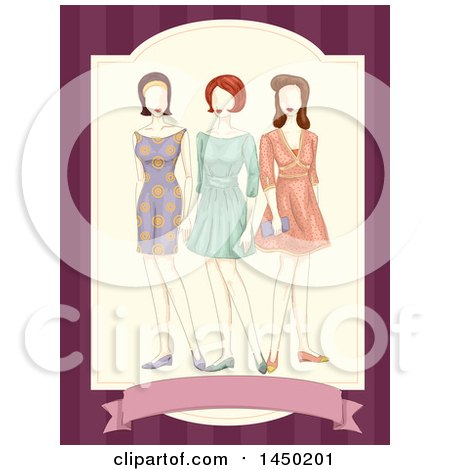 Clipart Graphic of a Trio of Mannequins in Vintage Dresses - Royalty Free Vector Illustration by BNP Design Studio
