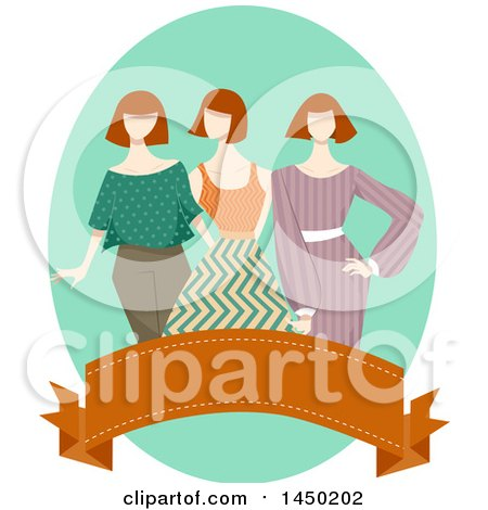Clipart Graphic of a Group of Mannequins in Vintage Apparel over a Banner - Royalty Free Vector Illustration by BNP Design Studio