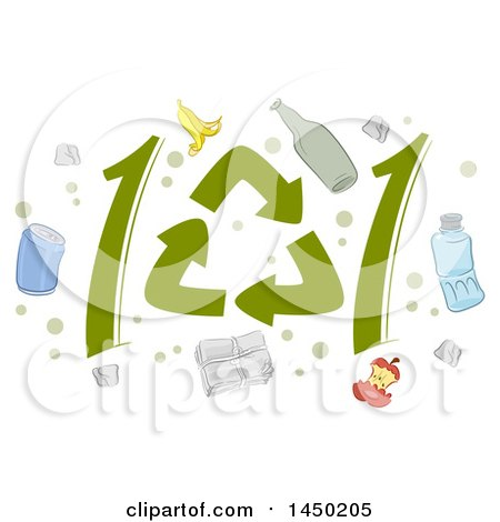 Clipart Graphic of Recycle Symbols Forming 101 and Icons - Royalty Free Vector Illustration by BNP Design Studio