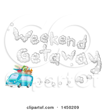 Clipart Graphic of a Blue Van Packed with Gear and Weekend Getaway Smoke - Royalty Free Vector Illustration by BNP Design Studio