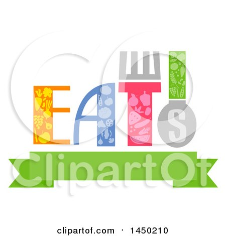 Clipart Graphic of a Typography Eats Word Design with Food over a Banner - Royalty Free Vector Illustration by BNP Design Studio