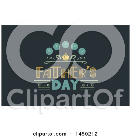 Clipart Graphic of a Happy Fathers Day Text Design on Dark Green - Royalty Free Vector Illustration by BNP Design Studio